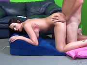 Old bastard is beating his meat while big-titted inked brunette sitting on his face
