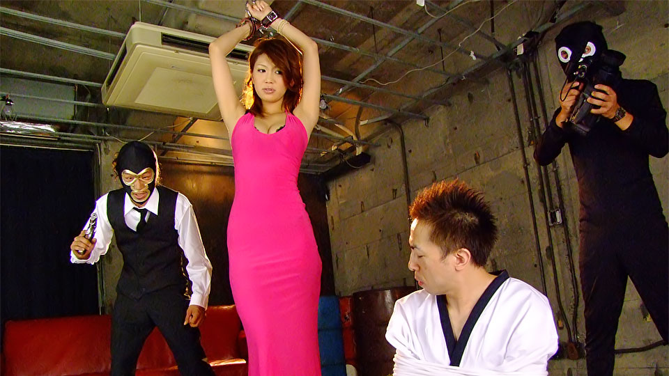 Ginger Japanese Hottie In Stockings And Rose Long Dress Gets Jeered By Two Horny Dudes And Banged Hard