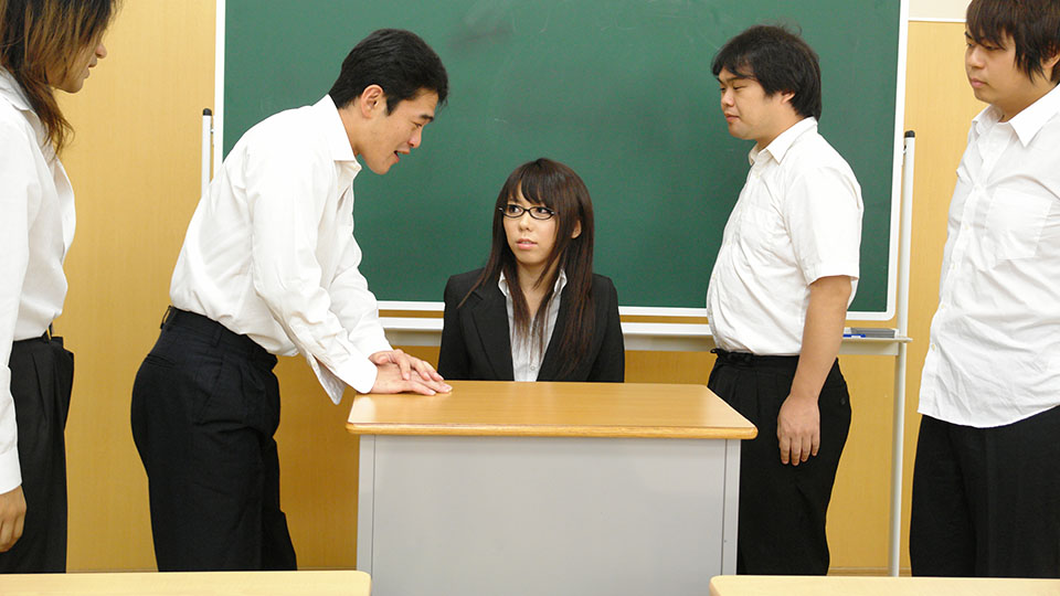Petite Japanese Teacher In Glasses Squirting Heavily While Being Group Fucked In The Classroom