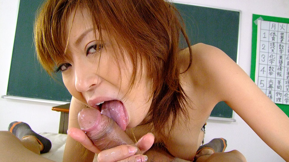 Red Japanese Slutty Teacher Licking Her Student And Giving Him A Titjob On Her Desk