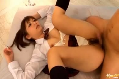This Ginger Japanese Teen In School Uniform Prefers It In Threesome
