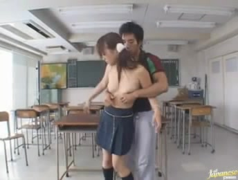 Pigtailed Japanese Teeny Takes Off Her School Uniform To Fuck With Her Classmate After Classes