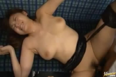 Brunette In Black Lingerie Gets A Hard Pussy Pounding On A Blue Couch.