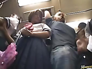 Delicious school girl gets her taste of a hard dick cock in the bus.