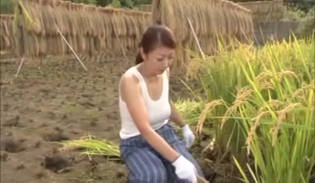 Big Tits Country Girl Displays Of Her Goodies In The Rice Field.