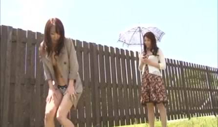 Horny Babes Do There Best Lesbian Moves In A Wooden Fenced Compound.