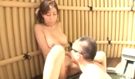 Seductive Woman Gets A Hard Fuck Outdoor On A Pink Mat Around A Bamboo Fence Jacuzzi.