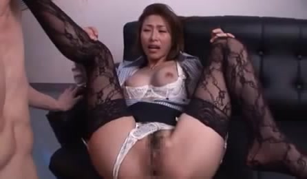 Breathtaking Asian Secretary In Lace Nylons Gets It From Behind In Her Office