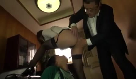 Bodacious Office Lady In Glasses And Stockings Getting Her Round Booty Fondled By Her Horny Boss