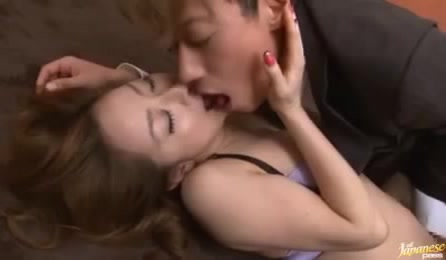 Horny Japanese Boss Fucking Hard His Secretary In Sexy Purple Lingerie On The Carpet