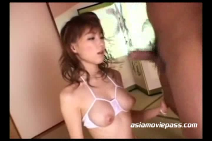Slutty Japanese Room Maid In Striped Stockings Serving Her Master