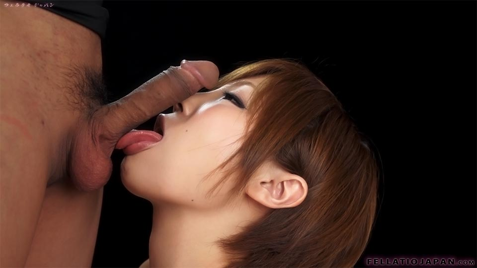 Breathtaking Japanese Redhead Sucking A Dick Hungrily