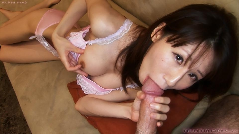 Nasty Japanese MILF In Sexy Lace Lingerie Playing With Her Nipple While Sucking A Dick