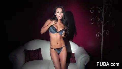 Lusty Asian Shakes Her Hot Body In Sexy Gray Lingerie Then Takes It Off And Fills Her Ass Crack And Pussy With A Pink And Yellow Dildo Wearing Black High Heels On A White Couch.