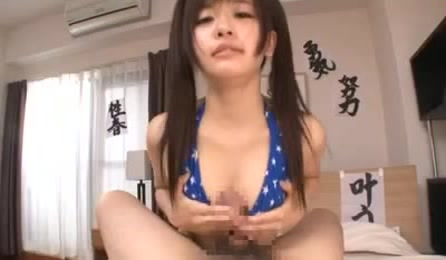 Young And Sweet Asian Teen In Blue Bikini Uses Mouth And Tits To Work On Cock