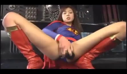 Asian Slut In Super Man Costume Has Supper Orgasms Masturbating With Big Dildo