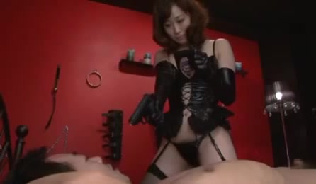 Bad Girl In Sexy Black Lingerie Makes Guy Lick Her Feet And Cunt Before Blowjob