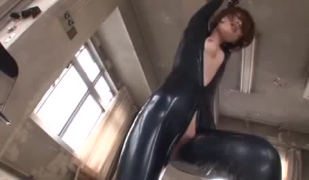 Cutie Full Black Outfit Gets Tied With A Vibrator Used On Her Clits And Body