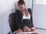 Horny teacher drops white panties to use toy and fingers to masturbate to cum