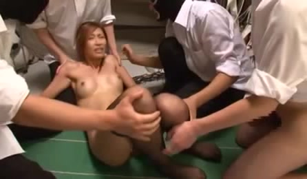 Hot Bushy Cunt Asian Babe Gets Ganged Fingered And Sucks Hard Cocks For Cum