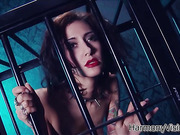 Encaged tattooed girl and two masked slaves get released to please their maitress