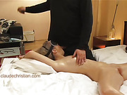 Guy's dick is primed for fucking with a suck from his blindfolded, bound and stunning mate.