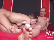 Two kinky mature whores rocking with two dudes on the red mats