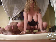 Curly blonde mature fatty and her brunette friend amusing with two dudes