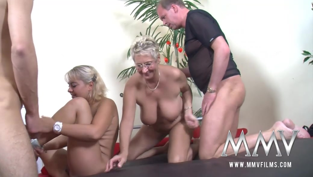 Mature Swingers Orgy Plump blonde chick and short-haired <b>mature swinger</b> in glasses <b></b>