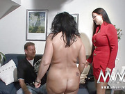 Inked dude with moustaches and balls ring doggystyling his boobilicious mature wife