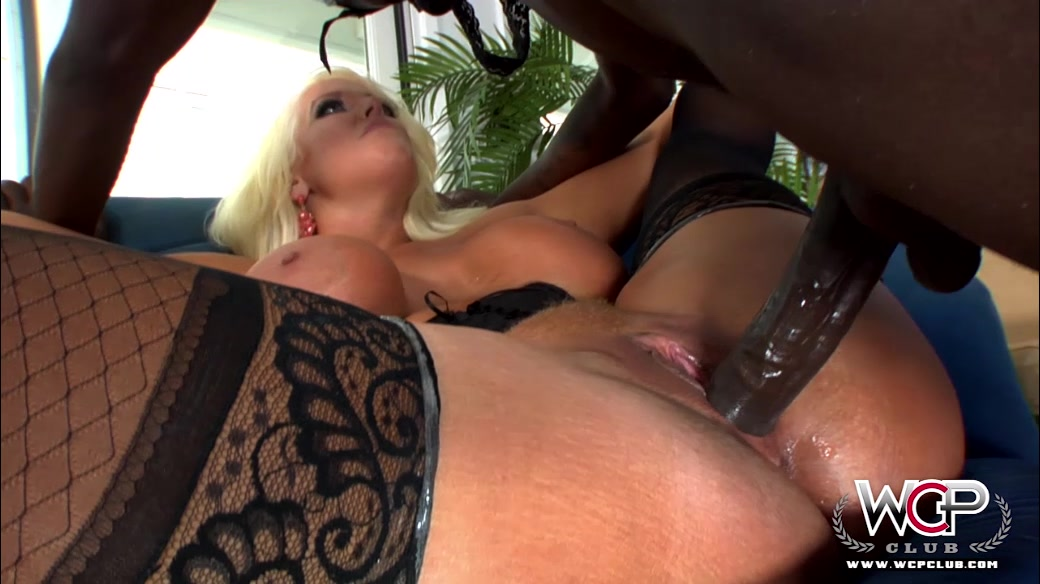 Sexy Blonde Mom In Stockings With Huge Natural Juggs Prefers Zealous Black Stallions