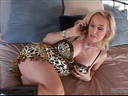 Boobilicious blonde bombshell in a leopard dress takes part in sloppy anal interracial threesome