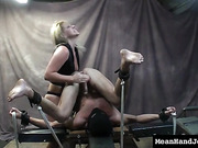Bound sub male's balls and cock are tortured when he is being mistreated by his Mistress.