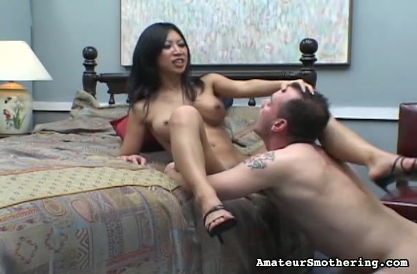 Asian Wonder With Round Tits Grinds Her Young Pussy Into A Man's Face.