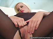 Sex kitten in a crotchless catsuit cannot wait for her cum reward, so stroke it for her.