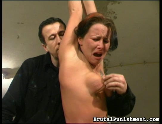 Brutal Master Torturing And Punishing Brunette Babe With Natural Tits In Bondage