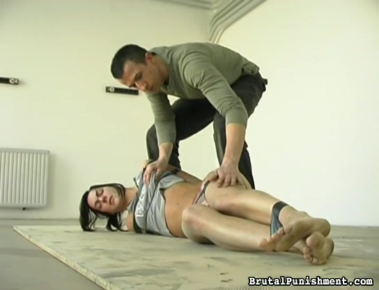Ponytailed Brunette Gets Tied With Sticky Tape, Ropes And Tortured With Hot Wax And Pins