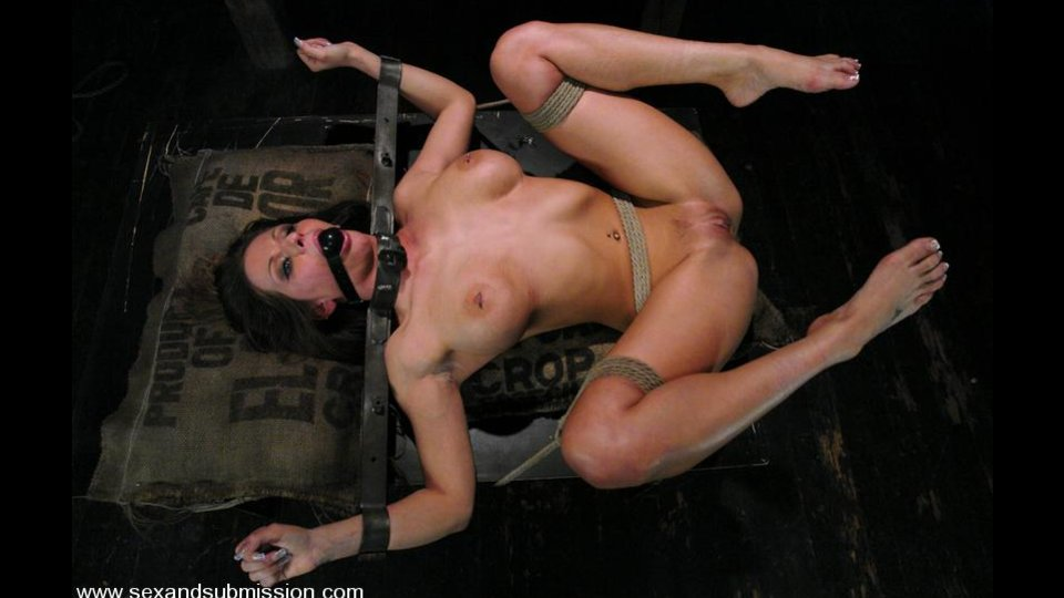Boobed Brunette With Pierced Nipples Gets Gagged And Stretched On Stick For Rough Banging