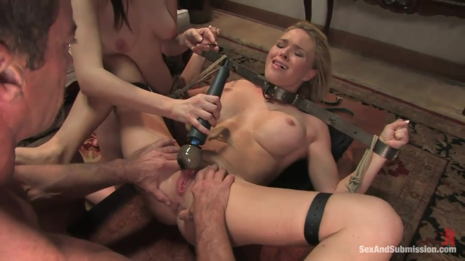 Bound And Gagged Blonde Maid Gets Punished And Fucked By Kinky Master And His Brunette Masked Assistant