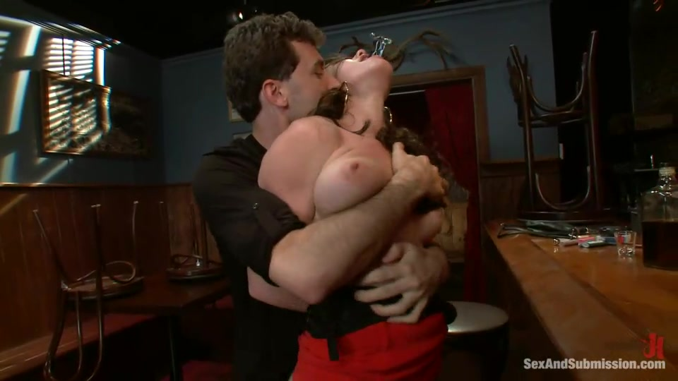 Gagged, Bound And Suspended Brunette Gets Ass Fucked Badly By Drunk Client In The Bar