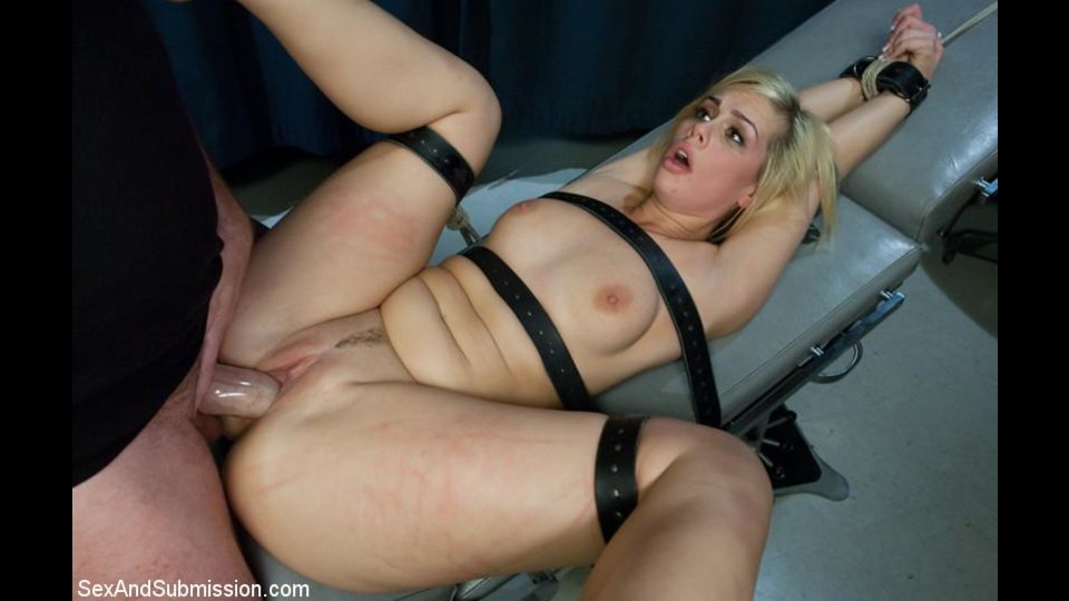 Blonde Nympho Gets Bound With Belts And Poked Roughly After Sucking Cock From Glory Hole