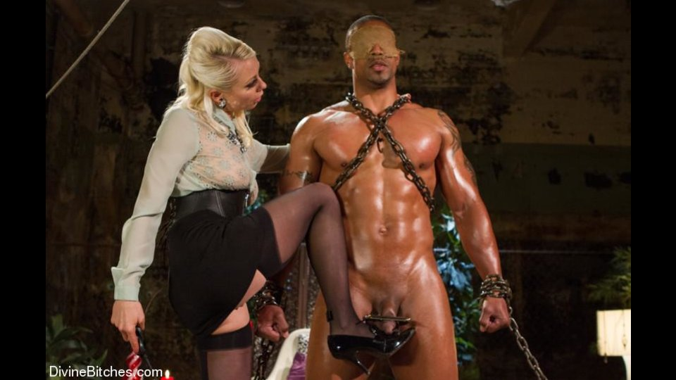 Enchained Black Hung Gets Gagged And Blindfolded Before Ass Toying By Blonde Mistress