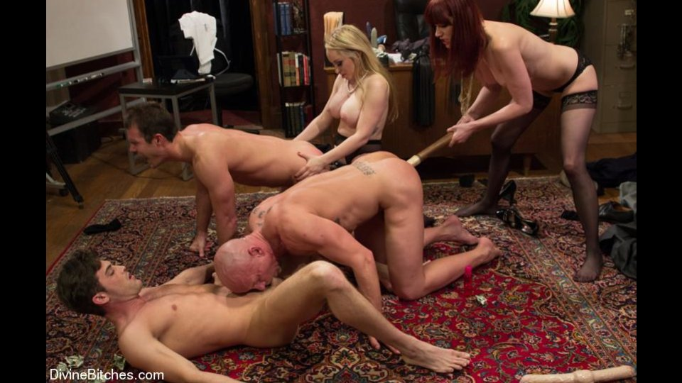 Three Dudes Get Humiliated And Tortured By Two Kinky Mistresses With Various Bdsm Implements