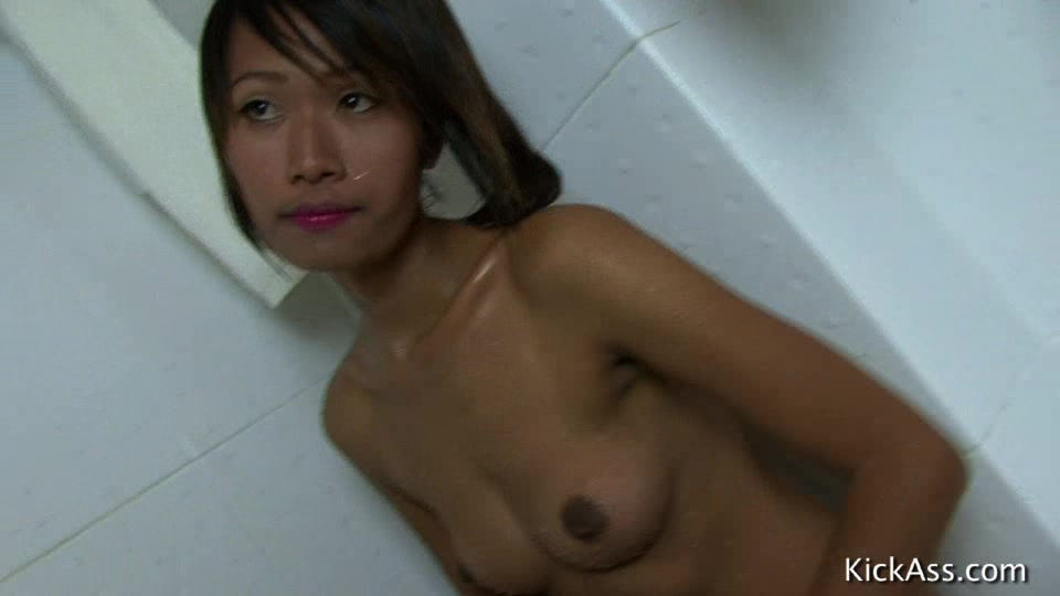 Swarthy Asian Chick Taking Shower Before Getting Her Hairy Twat Poked