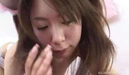 Lovely Japanese Hottie Teases With Her Alluring Body In Sexy Silver Outfit Then Sucks A Huge Dick Before She Spits Its Cum On Her Hand.