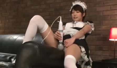 Horny Maid Sits On A Black Couch Wearing Her Black And White Uniform Then Opens Her Legs And Rubs Her Twat With A White And Gray Vibrator Under Her White Floral Panty On A Black Couch Before She Stands Up And Lets A Hot Stud Kiss Her Big Ass.