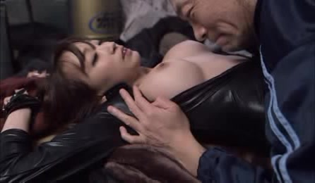 Sexy Thief In Tight Black Leather Outfit Gets Her Hands Cuffed Then Lets An Old Dude Suck Her Big Tits.