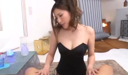 Luscious Asian Babe Kneels Down And Teases A Dick Wearing Her Sexy Black Bunny Outfit Then Drinks Water Before She Pulls It Out Of A Black Brief And Sucks It.