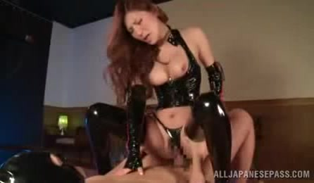 Indulging Hottie With Steaming Hot Body Shows Her Indulging Tits Wearing Her Black Latex Lingerie And Stockings While She Rides On A Horny Stud's Dick.