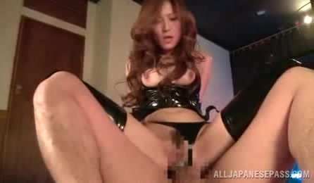 Foxy Asian Babe Shows Her Juicy Boobs While She Gets Fucked In Different Positions On A Gold Bed Wearing Her Black Latex Underwear And Stockings.